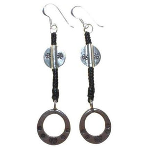 Black Waxed and Silver Ring Earring - Scarlet Bloom