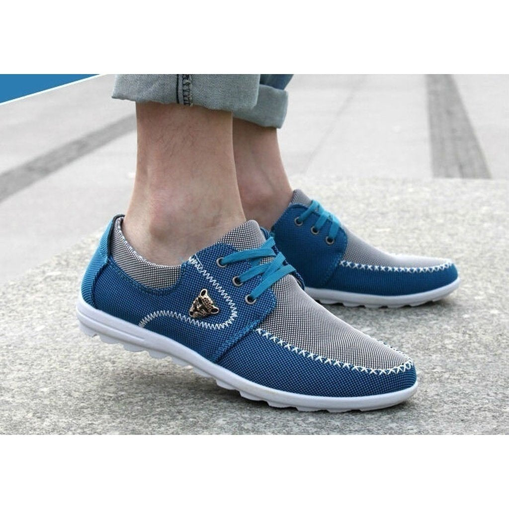Casual Men Masculino Canvas  British Loafer Flat Shoes