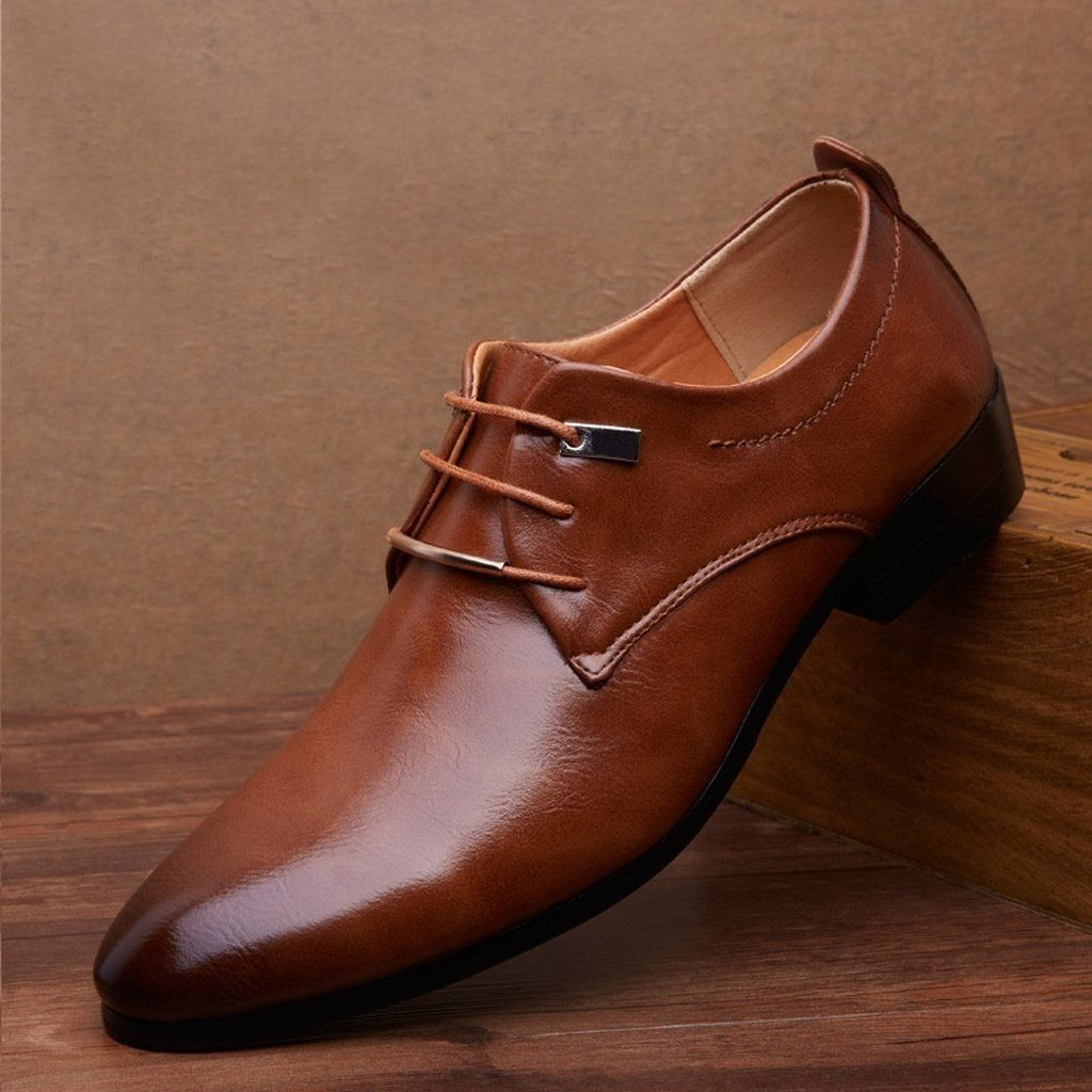 Men's Oxford Leather Fashion Dress Flat Shoes