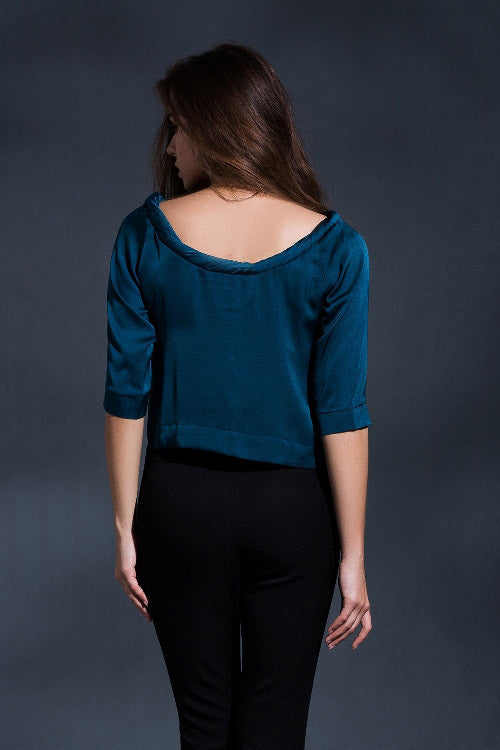 Twisted Round Neck Cropped Top Blouse