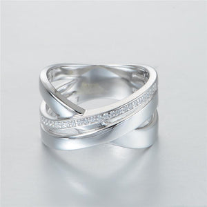 Unisex Trendy Style 925 Sterling Silver Clear Crystal Wedding band by GW Jewellery - Scarlet Bloom
