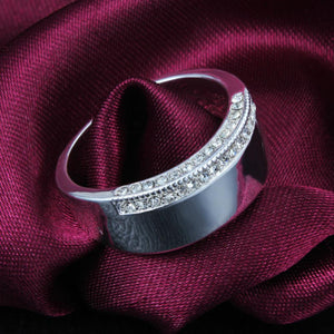 Unisex 925 Sterling Silver Geometric Unique Style Fashion Jewellery Wedding Band - Scarlet Bloom