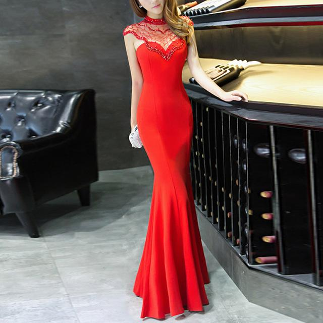 High Neck Mermaid Formal Evening Womens Dress - Scarlet Bloom