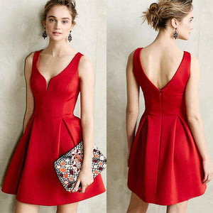 Sexy Autumn Backless A Line Dress with Deep V-Neck - Scarlet Bloom