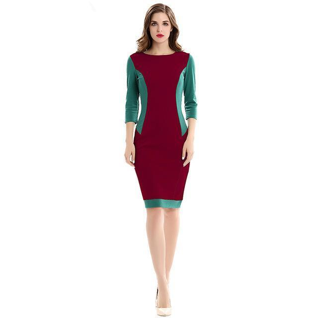 Women O-neck 3/4 Sleeve Patchwork Vintage Bodycon Dress - Scarlet Bloom