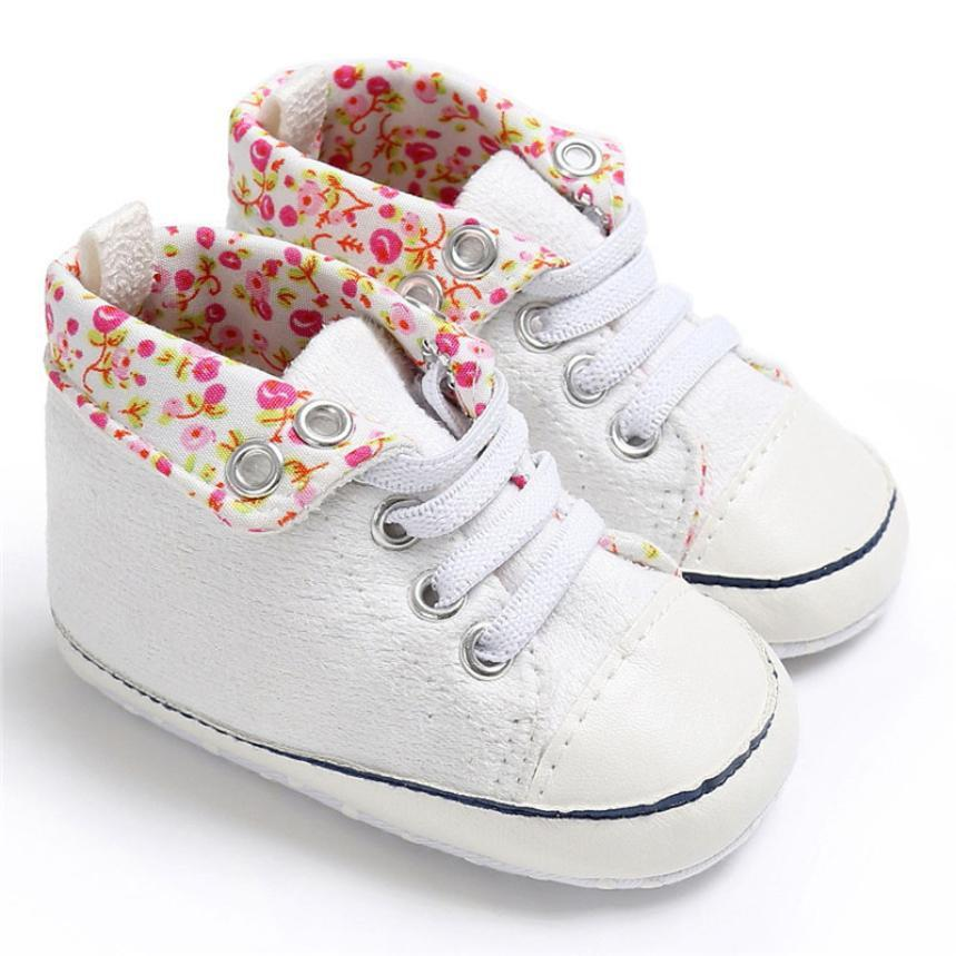 Children Fashion Lace-Up Soft Floral Pre-Walker Sneaker