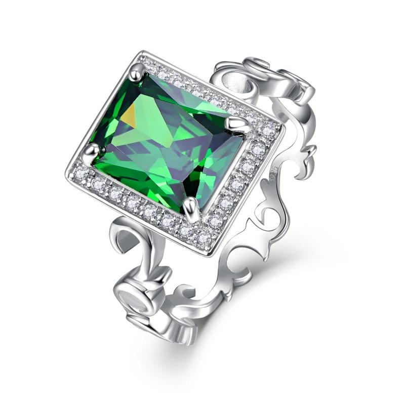 Jrose 5.3CT Emerald Solid 925 Sterling Silver Elegant Wedding Ring for Women - Scarlet Bloom