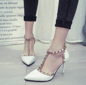 Women High Heel Pointed Toe Shoes with Buckle Rivets