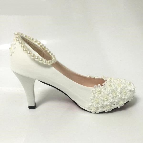 White Beading Cute Wedding Shoes with Floral Design