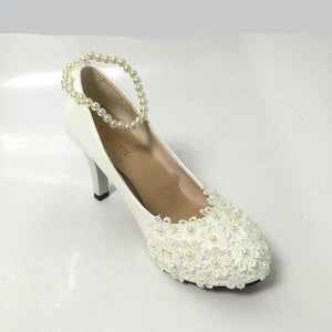 White Beading Cute Wedding Shoes with Floral Design – KVGP ... 9da3efa82
