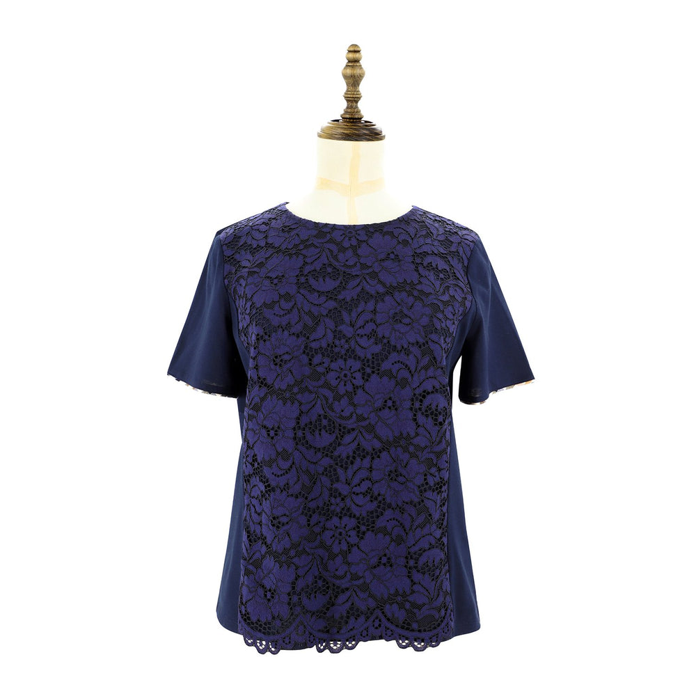 Womens Lace Knit Tee 38 / Navy Ladies