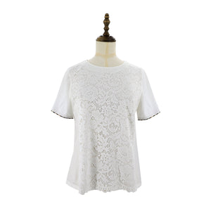Womens Lace Knit Tee 38 / White Ladies