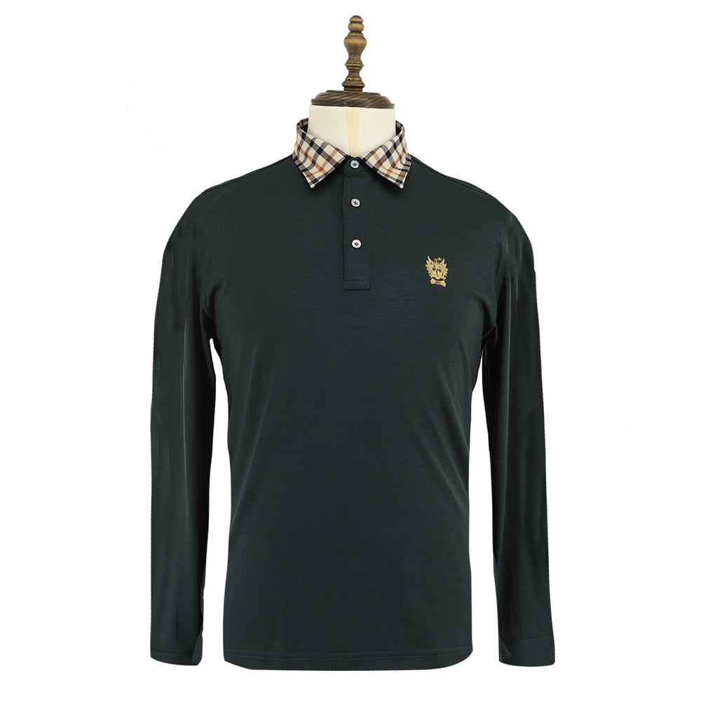 Men's Wool Knit Long Sleeve Polo
