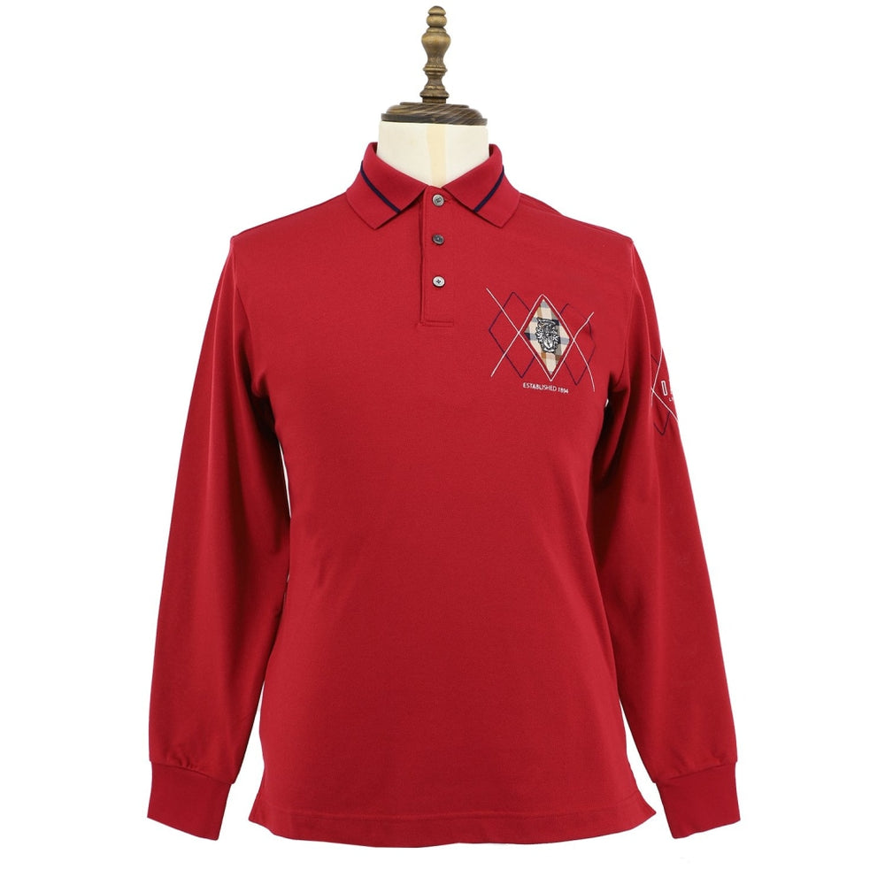 Mens Long Sleeve Cotton Knit Polo 48 / Rio Red
