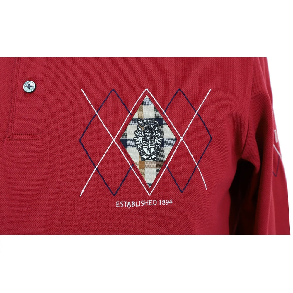 Mens Long Sleeve Cotton Knit Polo