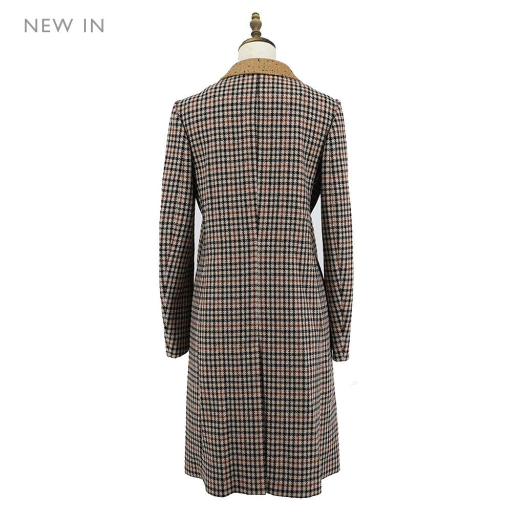 Womens House Check Woven Coat Ladies