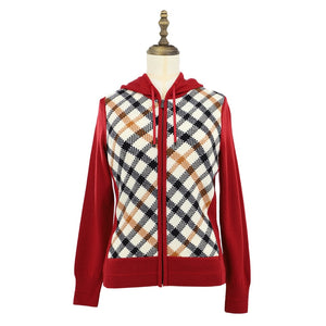 Womens Wool Knit Parka 38 / Red Ladies