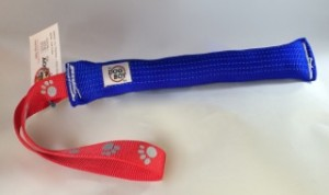"Blue 2"" tubular webbing 10"" body with red looped webbing handle"