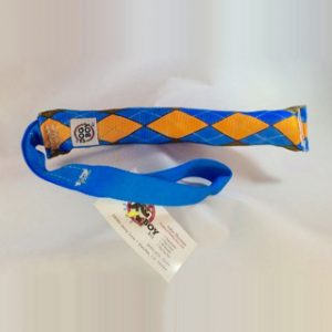 "2"" tubular webbing tug- blue and orange argyle toy with webbing handle"
