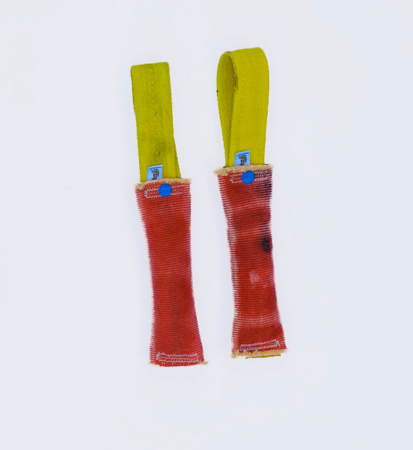"Two for one. 1.75 x 10""Double Jacketed firehose with 1"" firehose looped handles Tug Toy Pair"