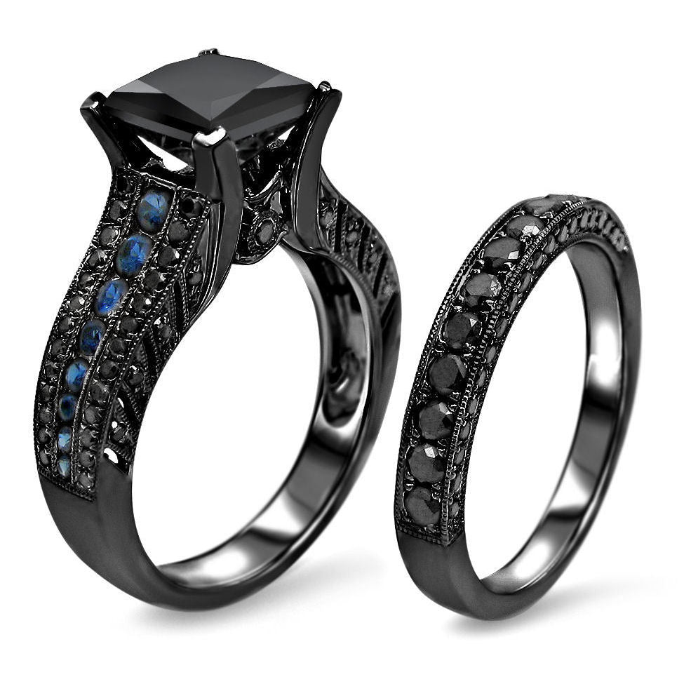 carat rose diamond wedding caravagio ring band black and p princess product set caravaggio gold rings engagement ct