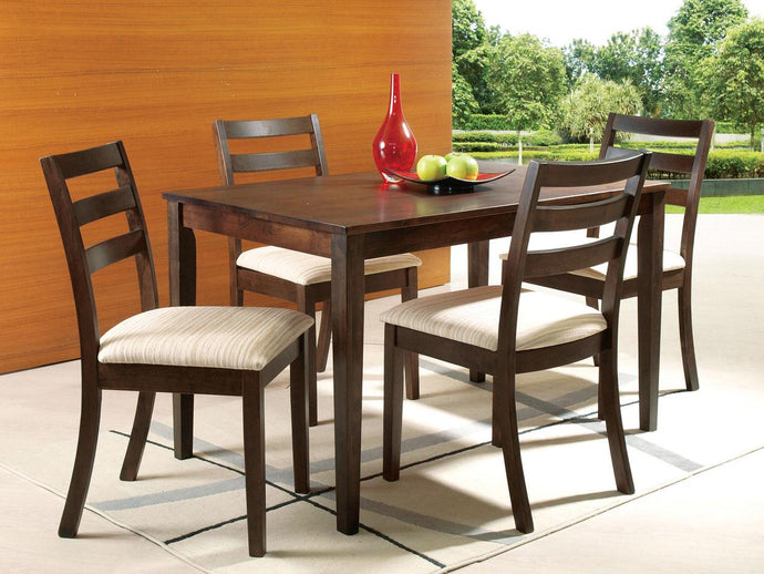 Dining Table 00867 - Tacoma Walnut Finish Dining Table with 4 Chairs