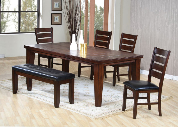 Dining Table 04620 - Urbana Cherry Finish Dining Table + 4 Chairs & 1 Bench