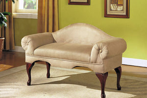 05630 Bench - Aston II Beige Finish Microfiber Rolled-Arm Bench