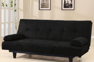05855W-BK Adjustable Sofa Bed - Cybil Microfiber Black Finish Contemporary Style Adjustable Sofa Bed