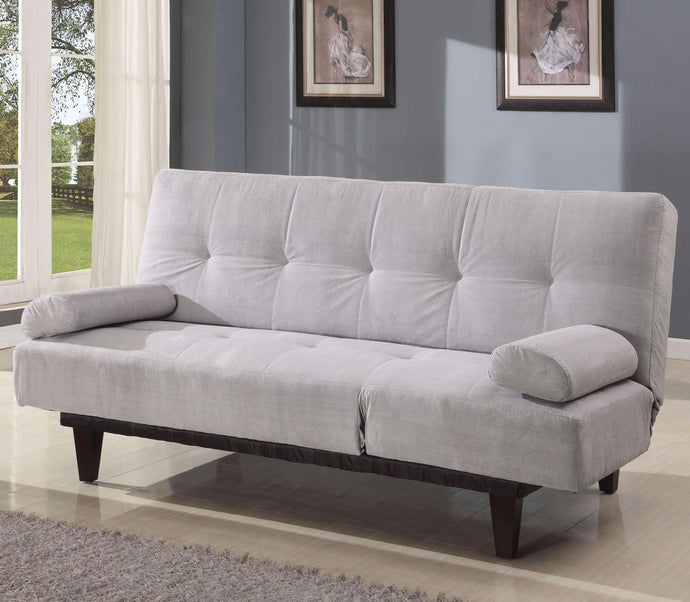 05855W-SI Adjustable Sofa Bed - Cybil Microfiber Silver Finish Contemporary Style Adjustable Sofa Bed