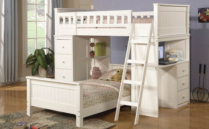 10970 Twin over Twin Loft Bed - Willoughby Contemporary White Finish Twin over Twin Loft Bed with Workstation