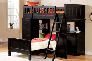 10980 Twin over Twin Loft Bed - Willoughby Contemporary Black Finish Twin over Twin Loft Bed with Workstation