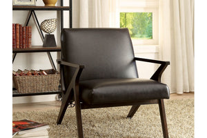 CM-AC6265BR Accent Chair - Dubois Contemporary Style Dark Brown Finish Leatherette Accent Chair
