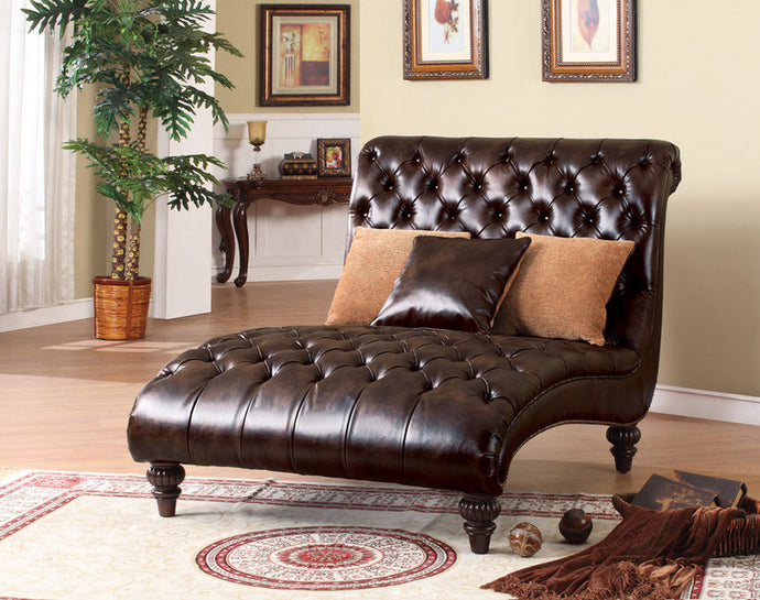15035 Chaise Lounge - Claremont Dark Brown Finish Faux Leather Chaise Lounge