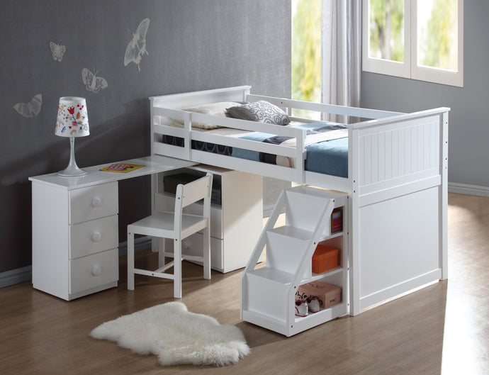 19405 Twin Loft Bed - Wyatt White Finish Contemporary Style Twin Loft Bed with Workstation and Chair