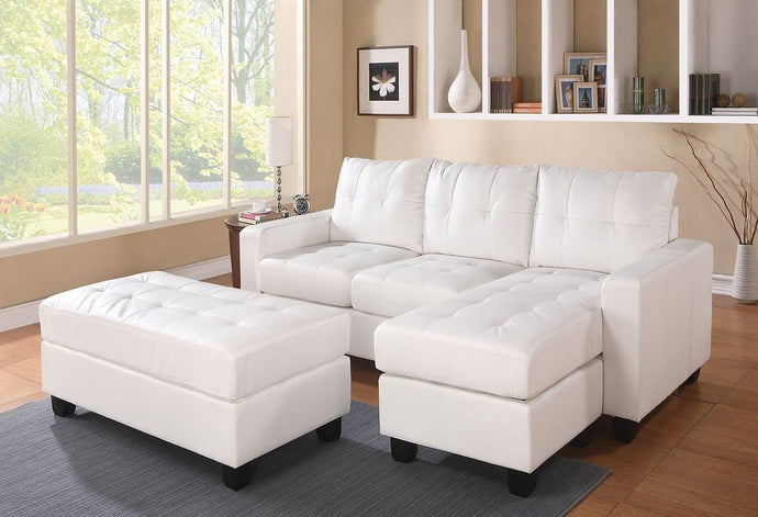 51210 - Lyssa White Reversible Sectional with Ottoman