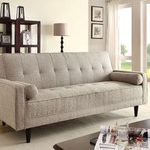 57071 Adjustable Sofa Bed - Edana Contemporary Style Sand Linen Finish Adjustable Sofa Bed