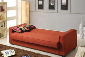 57072 Adjustable Sofa Bed - Shani Traditional Style Red Linen Finish Adjustable Sofa Bed