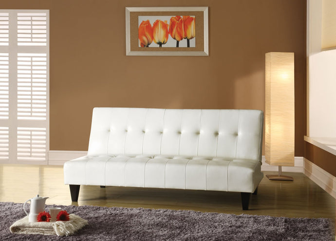 05858 Adjustable Sofa Bed - Conrad White Bycast PU Contemporary Style Adjustable Sofa Bed