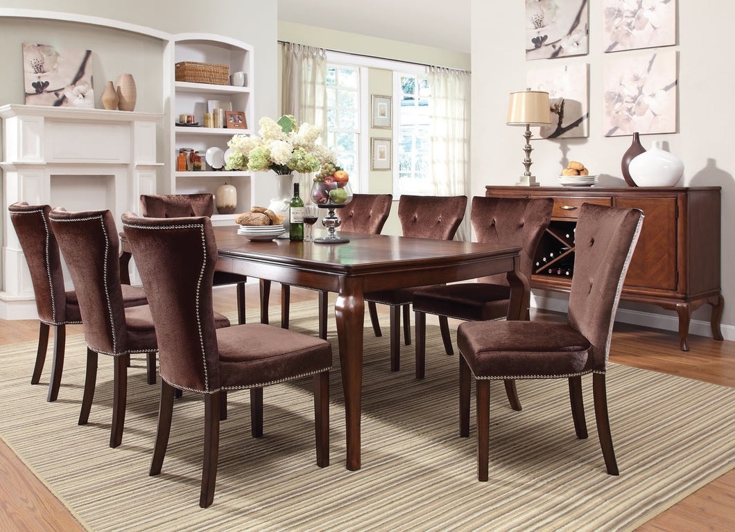 Formal Dining Set 60020 - Kingston Brown Cherry Finish Dining Table with 8 Chairs