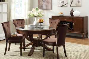 Formal Dining Set 60022 - Kingston Brown Cherry Finish Dining Table with 4 Chairs