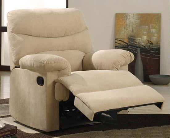 00626 Recliner Chair - Oakwood Beige Finish Microfiber Recliner Chair