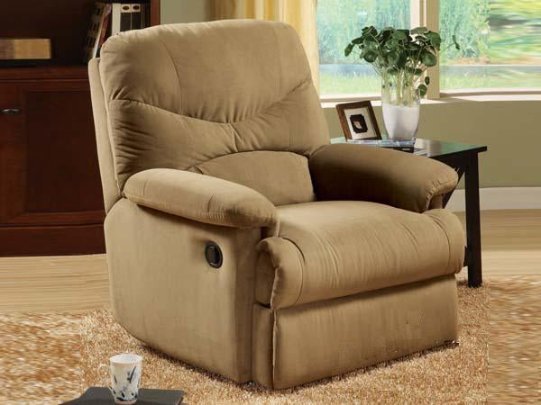 00627 Recliner Chair - Oakwood Light Brown Finish Microfiber Recliner Chair