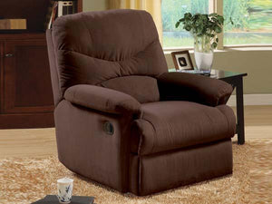 00632 Recliner Chair - Oakwood Chocolate Finish Microfiber Recliner Chair