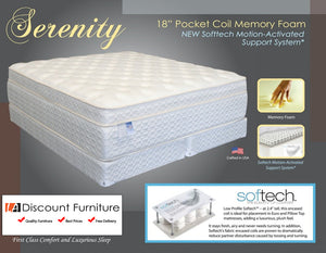"826 Maxim Serenity Euro Pillow Top Pocket Coils 18"" Queen Mattress"