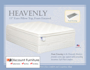 "841 Maxim Heavenly Foam Encased Euro Pillow Top 15"" Queen Mattress"