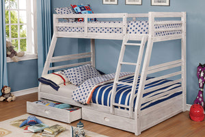 CM-BK588BWH - California III Twin/Full Bunk Bed with 2 Drawers