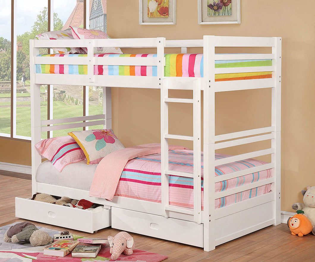CM-BK588T-WH - California IV Twin/Twin Bunk Bed with 2 Drawers