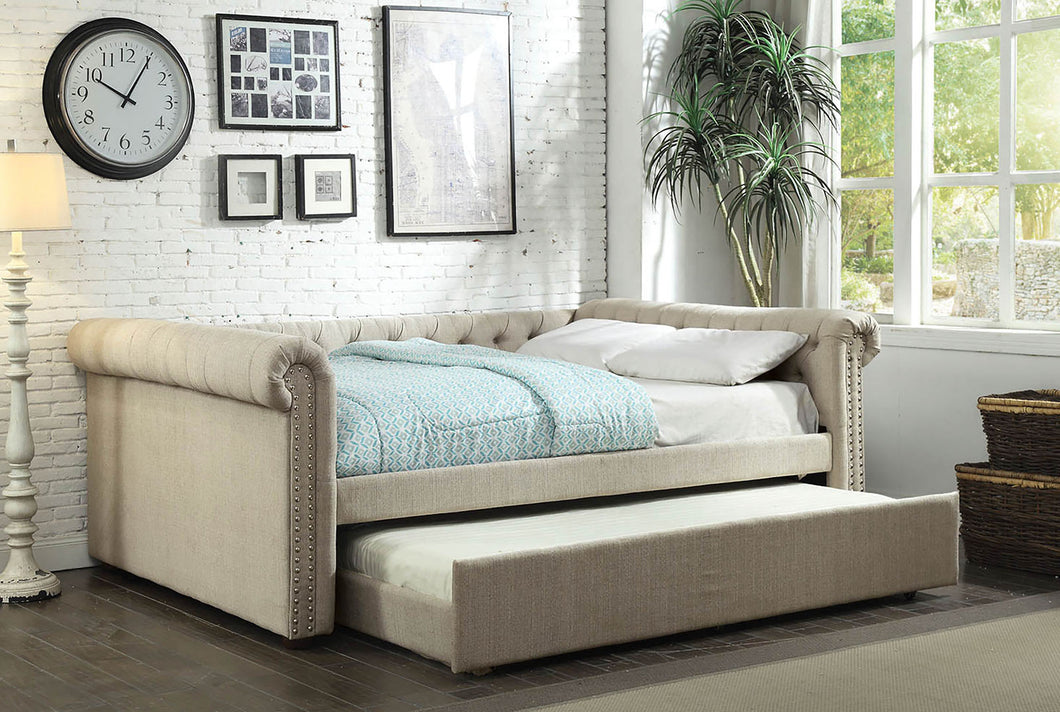 CM1027BG-Q - Leanna Beige Queen Daybed with Trundle