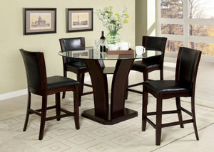 CM3710PT - Manhattan Counter Height Table with 4 Black Chairs